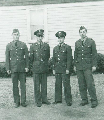 Edgar (on the right) and three friends, ready to ship out, 1942