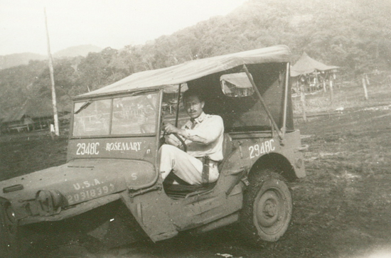 "Villchur in his jeep. He named it ""Rosemary"" after his girlfriend (and later wife) in the states."