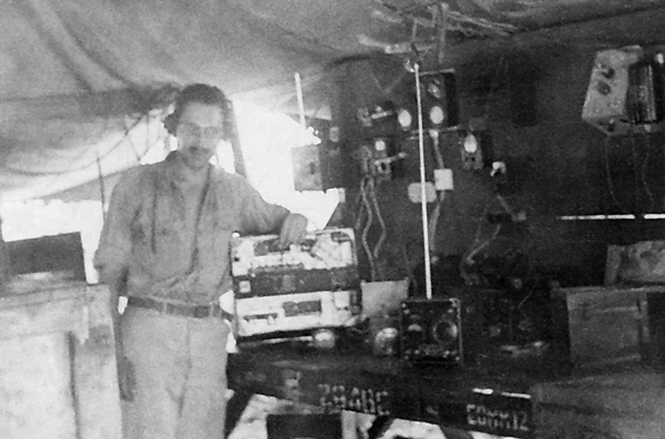 Villchur with his communications equipment