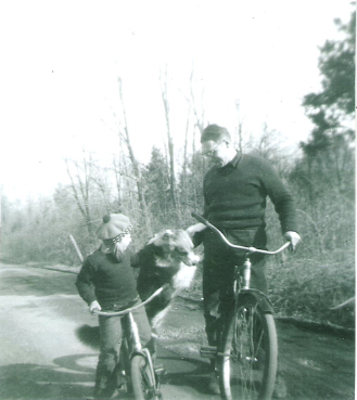Edgar Villchur with me and Cochise, shortly after moving to Chestnut Hill Road in Woodstock, 1952.
